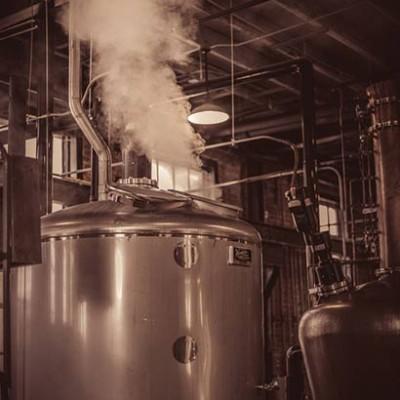 Copper pot stills at the St. Augustine Distillery